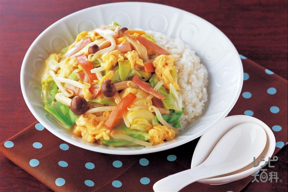 お手軽野菜あんかけ丼(もやし+ご飯を使ったレシピ)