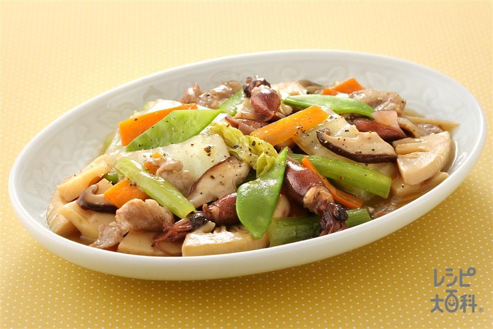 ほたるいかの八宝菜(ゆでほたるいか+豚ロース薄切り肉を使ったレシピ)