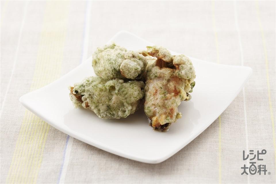 くるくる豚巻きの青のり揚げ(豚しゃぶしゃぶ用肉+「瀬戸のほんじお」を使ったレシピ)