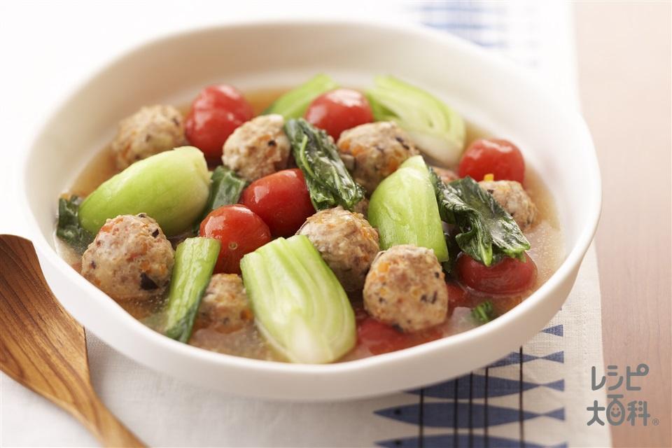 チンゲン菜とがっつりだんごのおいしいコラボ(チンゲン菜+鶏ひき肉を使ったレシピ)