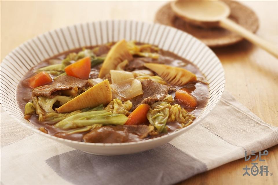 旬野菜の和風カレー煮(春キャベツ+玉ねぎを使ったレシピ)