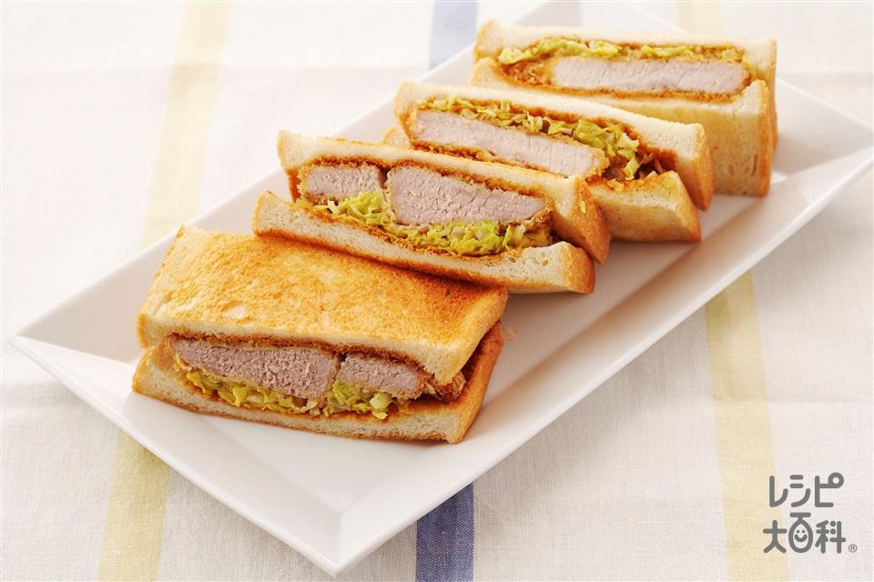 カツサンド(食パン8枚切り+豚もも肉を使ったレシピ)