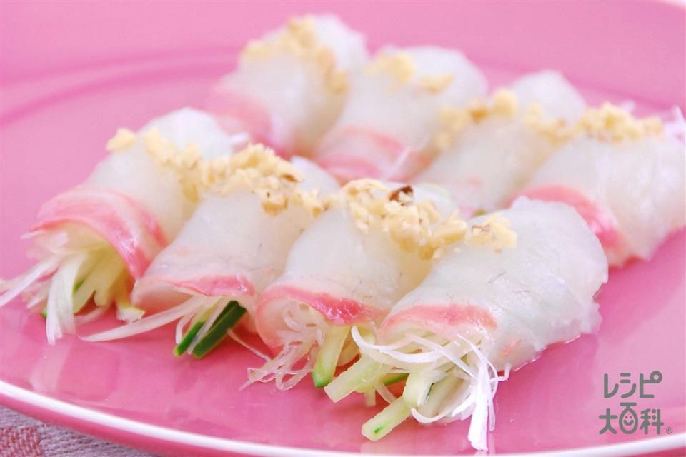 白身魚のコチュマヨソース(白身魚の刺身+きゅうりを使ったレシピ)