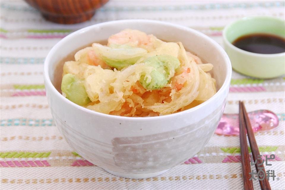 たけのことそら豆のかき揚げ丼(薄力粉+ご飯を使ったレシピ)