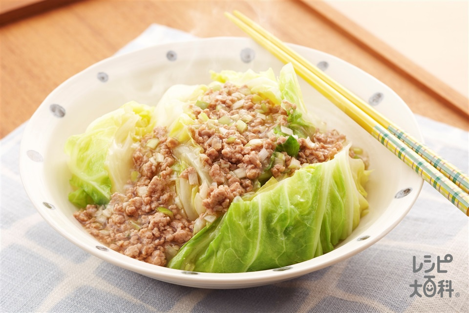 キャベツとそぼろのだしうま煮(キャベツ+豚ひき肉を使ったレシピ)