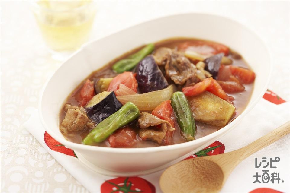 牛肉となすの和風トマトカレー煮(トマト+玉ねぎを使ったレシピ)