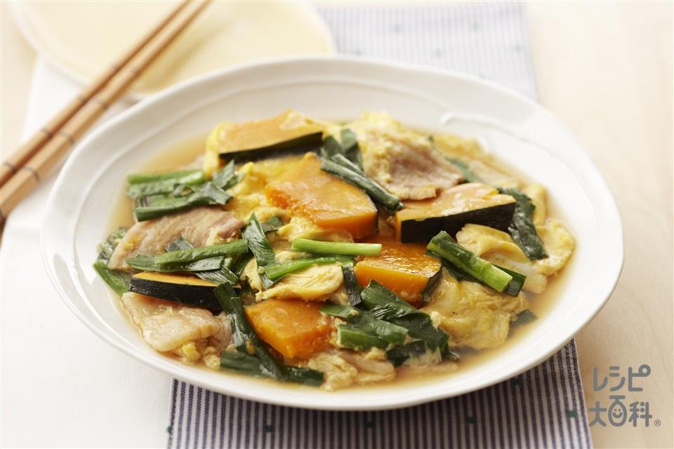 かぼちゃと豚肉の卵とじ煮(かぼちゃ+豚バラ肉を使ったレシピ)