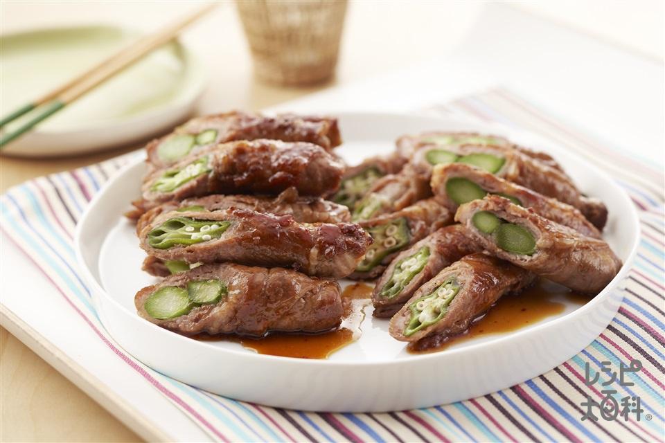 おくらとアスパラのピリ辛照り煮(オクラ+豚肩ロース肉を使ったレシピ)
