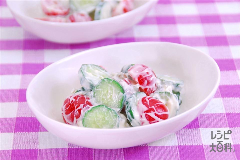 きゅうりとトマトのヨーグルトソースあえ(きゅうり+ミニトマトを使ったレシピ)