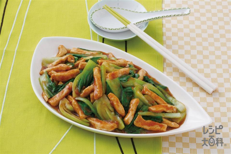 鶏肉・青菜のチンジャオ風(鶏むね肉+チンゲン菜を使ったレシピ)