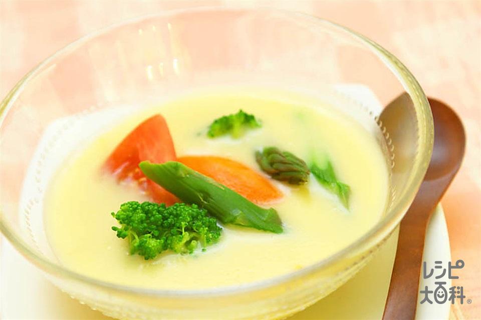 彩り野菜のコーンプリン(「クノール スープ」コーンクリーム+牛乳を使ったレシピ)