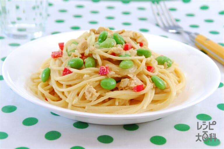 ツナと枝豆のパスタ カレー風味