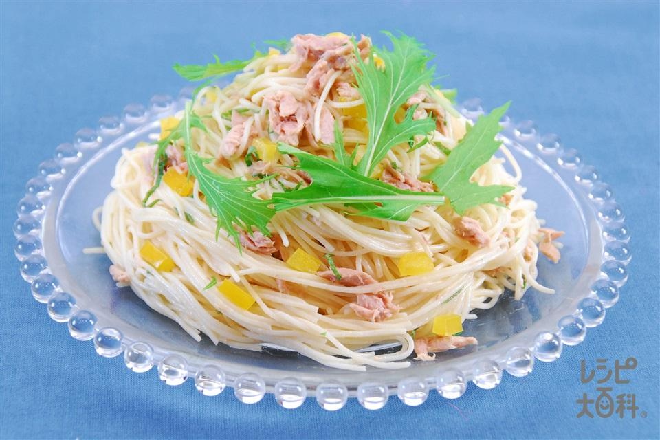 ツナと梅の冷製パスタ(スパゲッティ+ツナ缶(ノンオイル)を使ったレシピ)