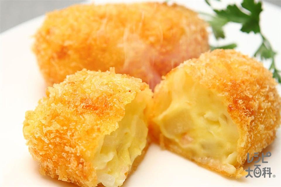 コーンクリームコロッケ(じゃがいも+A玉ねぎのみじん切りを使ったレシピ)