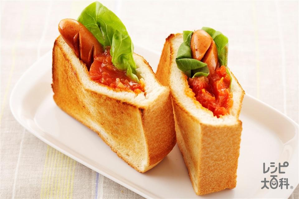 ポケットサンド(食パン4枚切り+トマトを使ったレシピ)