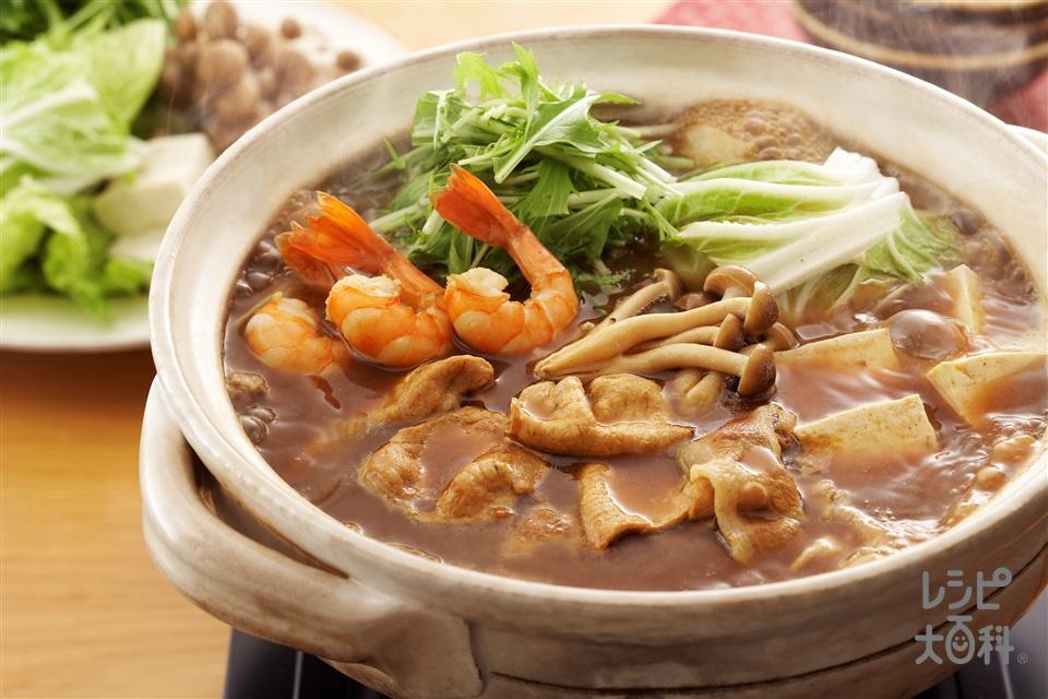 カレー鍋(豚ロースしゃぶしゃぶ肉+えびを使ったレシピ)
