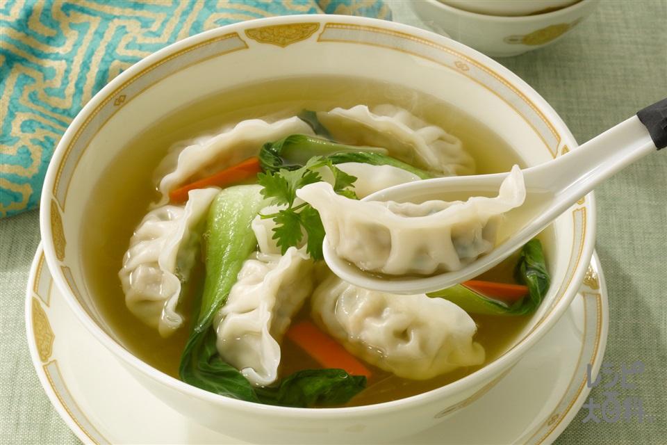 ぽっかぽかスープの水餃子(味の素冷凍食品KK「ギョーザ」+チンゲン菜を使ったレシピ)