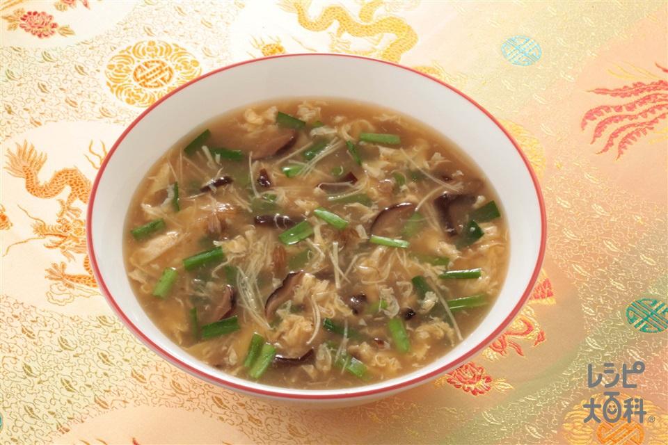 しょうがとにらのふかひれスープ(にら+溶き卵を使ったレシピ)
