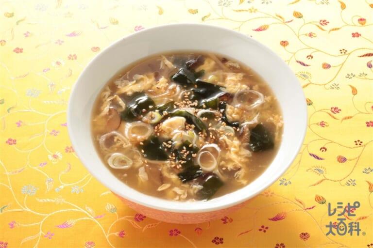 長ねぎとわかめのふかひれスープ
