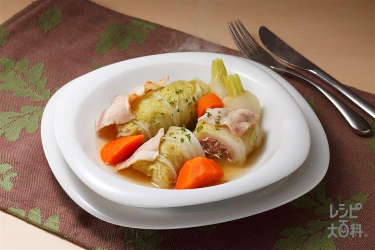 鶏ひき肉で作るロール白菜