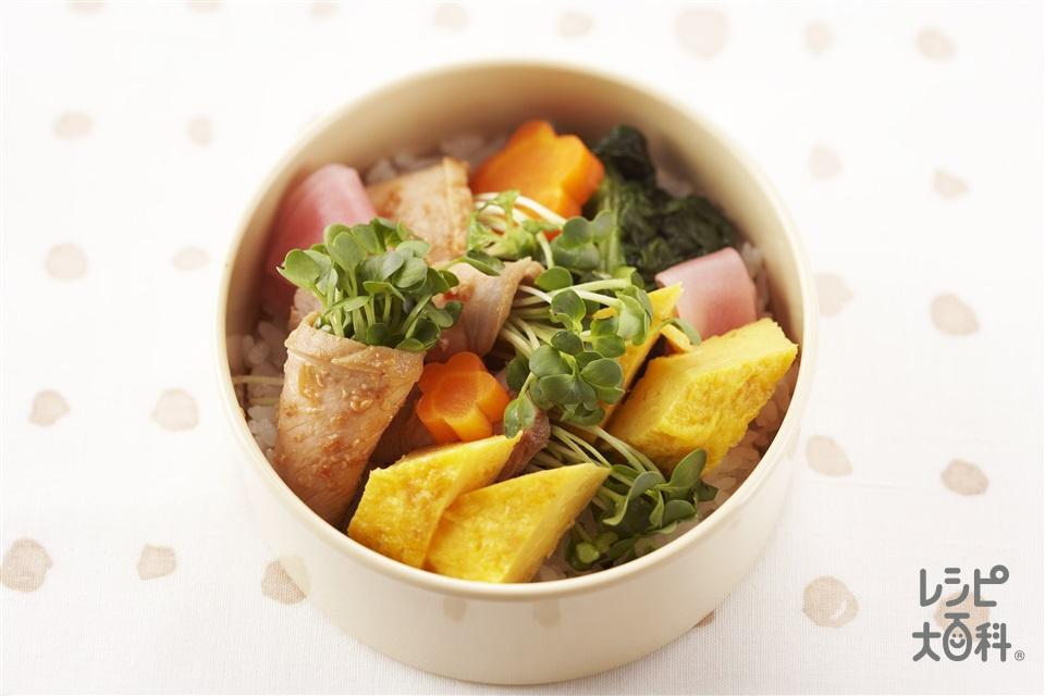 彩り小丼(温かいご飯+豚ももかたまり肉を使ったレシピ)