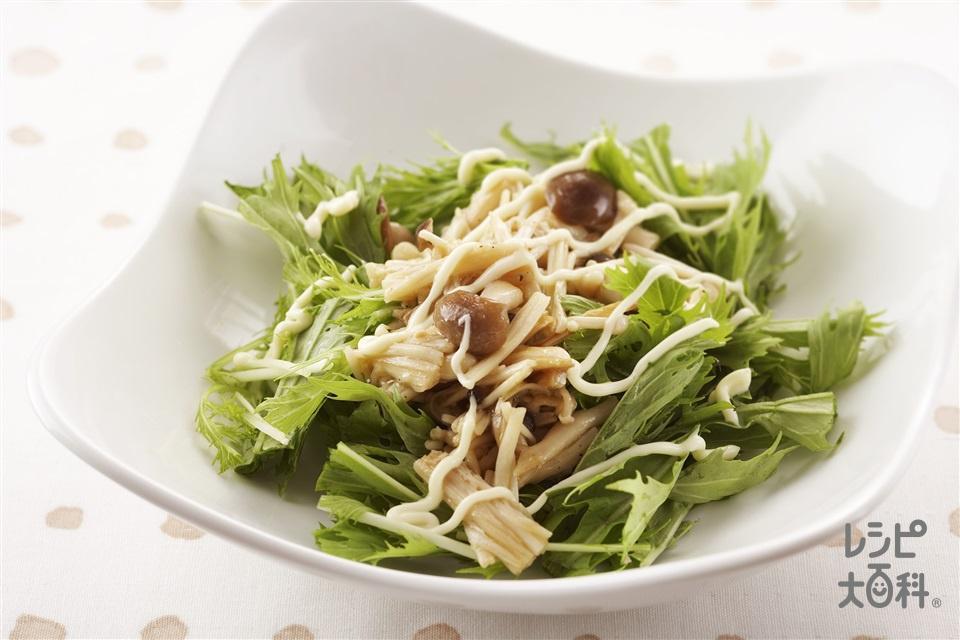 きのこのサラダ(水菜+えのきだけを使ったレシピ)