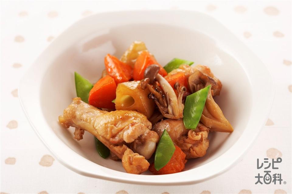 鶏肉と秋野菜の煮もの(鶏手羽元+れんこんを使ったレシピ)