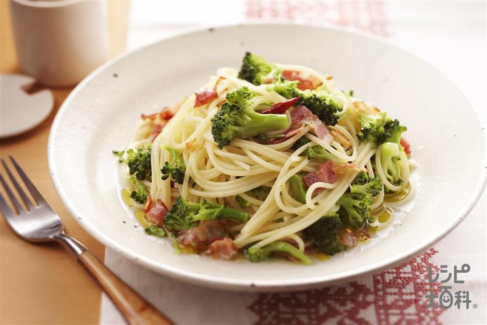 ブロッコリーのペペロンチーノ(ブロッコリー+ベーコンを使ったレシピ)