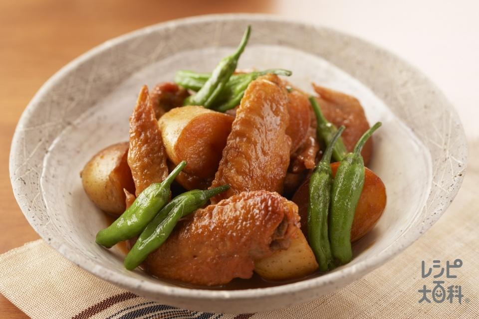鶏手羽とじゃがいもの含め煮(鶏手羽肉+じゃがいもを使ったレシピ)