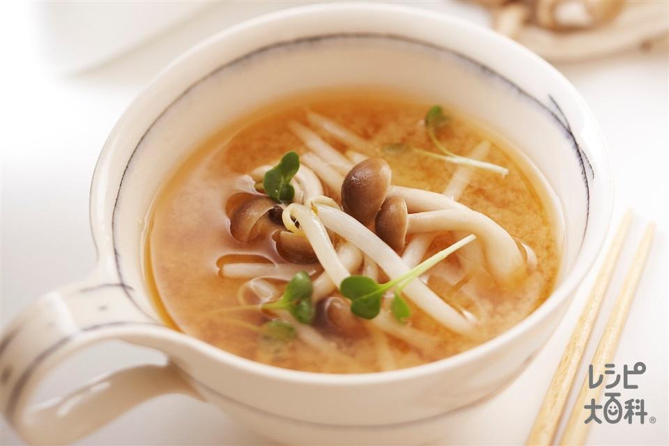 しめじともやしのレンチンみそスープ(しめじ+もやしを使ったレシピ)