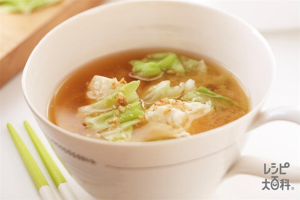 キャベツと豆腐のレンチンごまみそスープ(キャベツ+木綿豆腐を使ったレシピ)