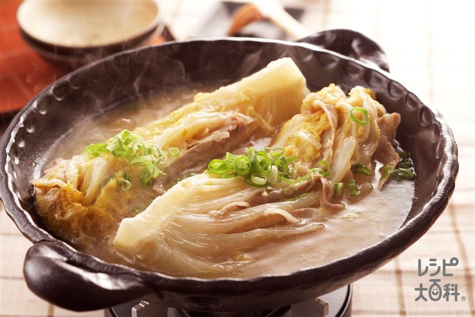 白菜・豚肉のトロトロみそ鍋(白菜+豚バラ薄切り肉を使ったレシピ)