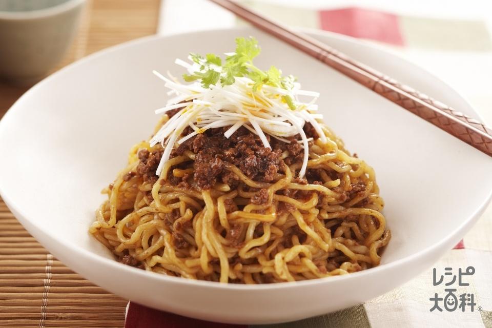 汁なし担々麺(中華生めん+豚ひき肉を使ったレシピ)