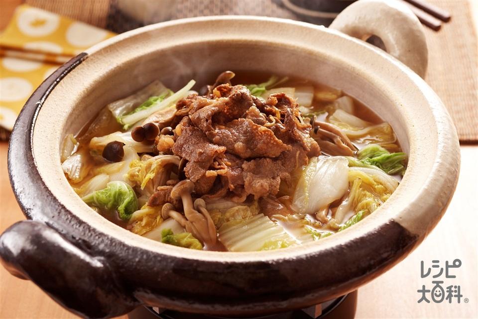 すき煮風白菜鍋(白菜+牛切り落とし肉を使ったレシピ)