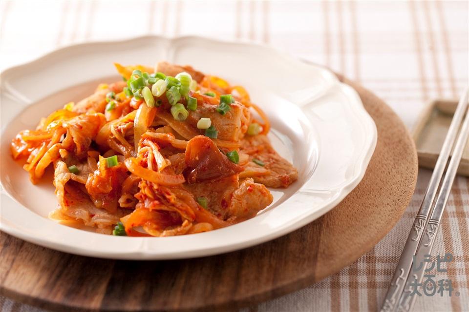 梅豚キムチ(豚ロース薄切り肉+キムチを使ったレシピ)