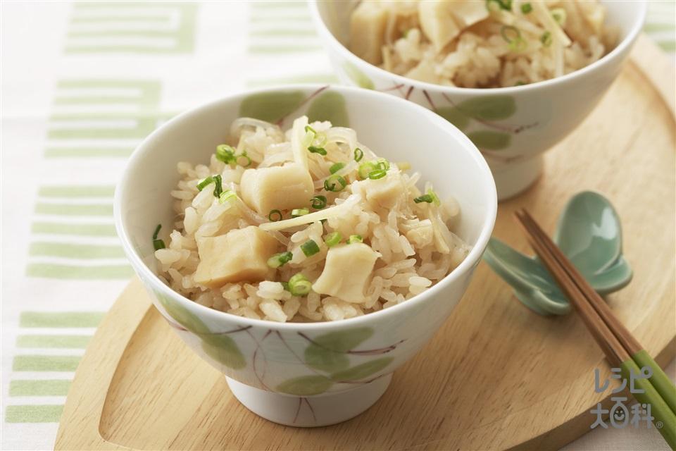 しょうがと帆立の炊き込みご飯(米+「ヤマキ 減塩だしつゆ」を使ったレシピ)