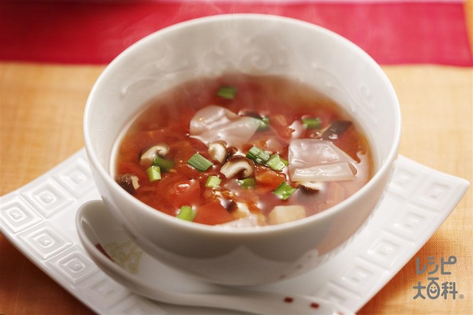 きのこと餃子の皮のトマトスープ<減塩タイプ>(トマト+餃子の皮を使ったレシピ)
