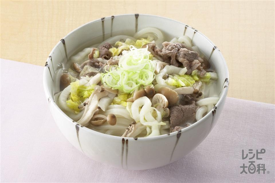 白菜うどん(うどん+白菜の塩漬けを使ったレシピ)