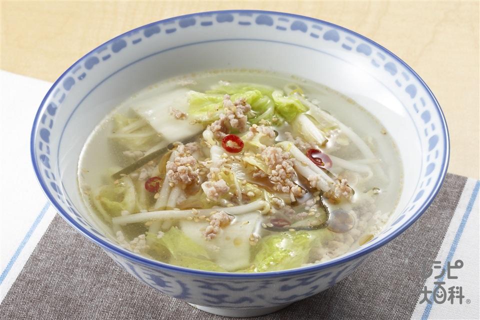 白菜漬けのスープ(白菜の塩漬け+もやしを使ったレシピ)