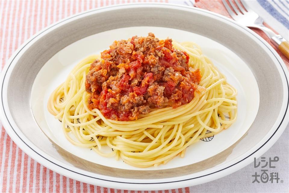 ミートソーススパゲッティ(合いびき肉+「瀬戸のほんじお」を使ったレシピ)