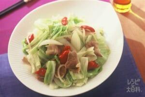 肉野菜炒め(豚もも薄切り肉+キャベツを使ったレシピ)