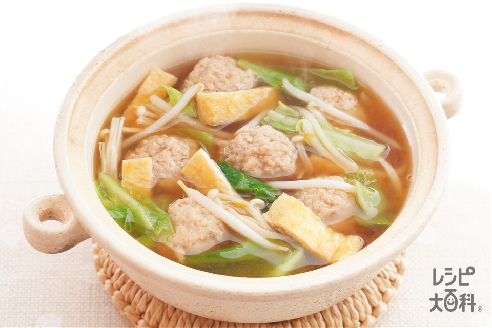 ミニちゃんこ(鶏ひき肉+A水を使ったレシピ)