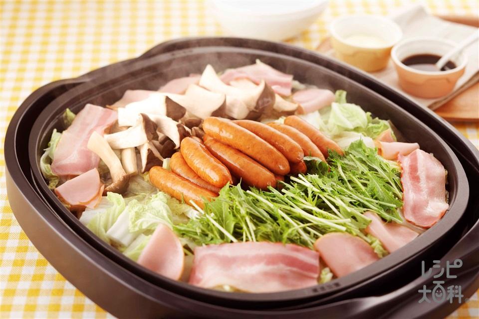 菜愛蒸し(粗びきウインナーソーセージ+白菜を使ったレシピ)