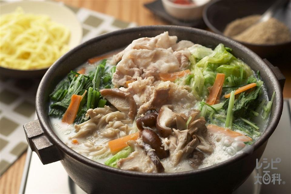 水菜と豚肉の豆乳鍋(豚バラ肉+水菜を使ったレシピ)
