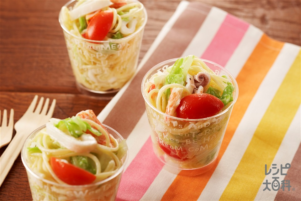 魚介のサラダスパゲッティ(スパゲッティ+やりいかを使ったレシピ)