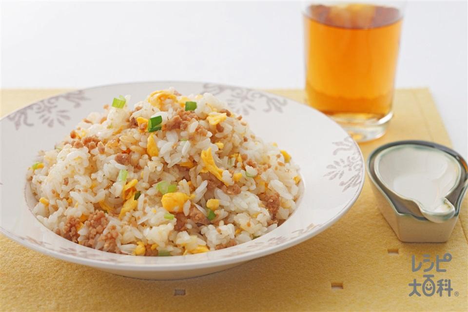 ひき肉チャーハン(温かいご飯+溶き卵を使ったレシピ)