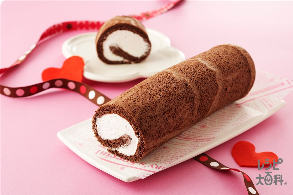 ココアロールケーキ(卵+生クリームを使ったレシピ)