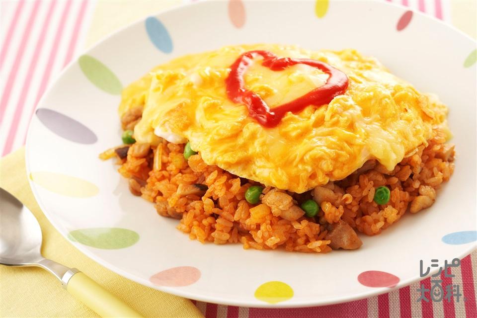 簡単オムライス(温かいご飯+卵を使ったレシピ)
