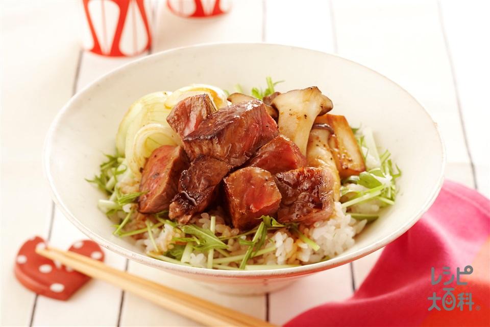 和風ステーキ丼(牛肉+温かいご飯を使ったレシピ)