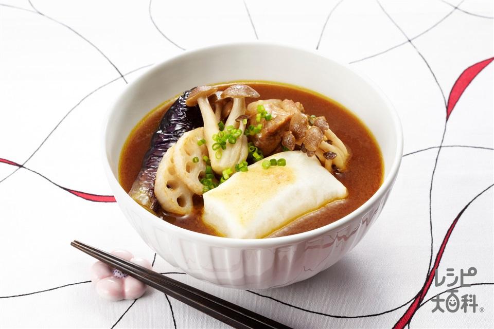 カレー雑煮(なす+角餅を使ったレシピ)